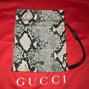 Authentic Gucci snakeskin print mini baguette